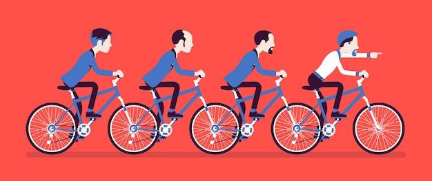男性のビジネスタンデム。協力して自転車に乗る成功したビジネスマンチーム、合意。同期とプロの一体感の比喩。ベクトルイラスト、顔のない文字