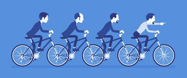 男性のビジネスタンデム。協力して自転車に乗る成功したビジネスマンチーム、合意。同期とプロの一体感の比喩。