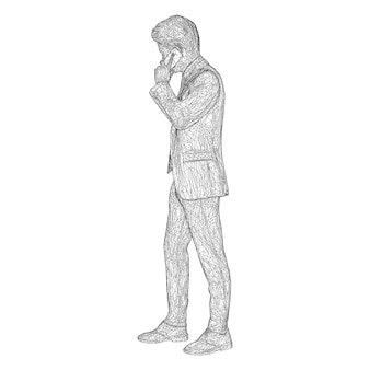 Male businessman in a business suit standing and talking on the phone slightly tilting her head