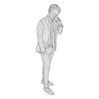 비즈니스 정장을 입은 남성 사업가가 서서 전화 통화를 하고 약간 머리를 기울이고 있습니다.