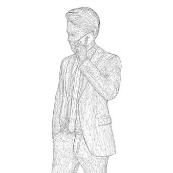 비즈니스 정장을 입은 남성 사업가가 서서 전화 통화를 하며 약간 머리를 기울이고 있습니다.