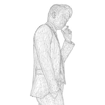 Мужчина-бизнесмен в деловом костюме стоит и разговаривает по телефону, слегка наклонив голову