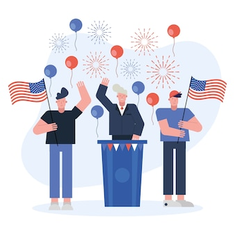 Male candidate giving speech election day vector illustration design