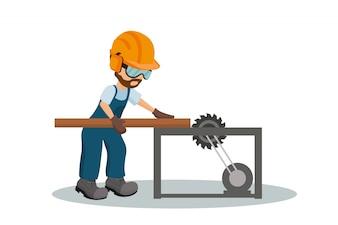 Male carpenter cutting a wooden plank