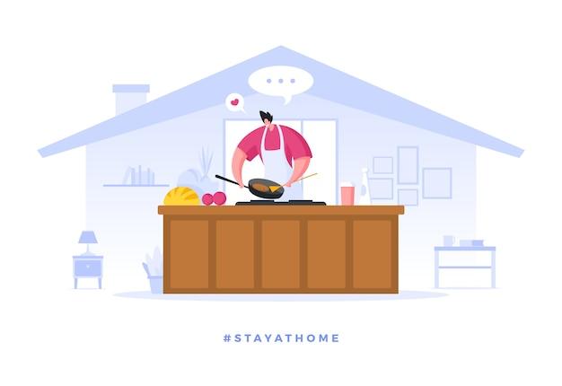 男性の漫画のキャラクターが自宅で検疫に調理
