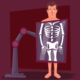 Мужской мультипликационный персонаж во время рентгеновской процедуры