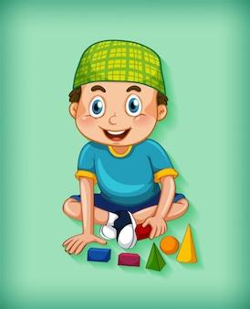 Мужской мультипликационный персонаж на фоне цвета градиента