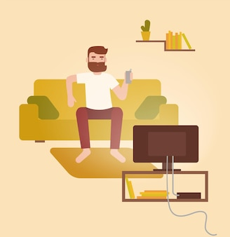 Male cartoon character sitting on cozy couch in front of television set, drinking beer and having fun at home. young bearded man on comfortable sofa watching tv. flat colorful vector illustration