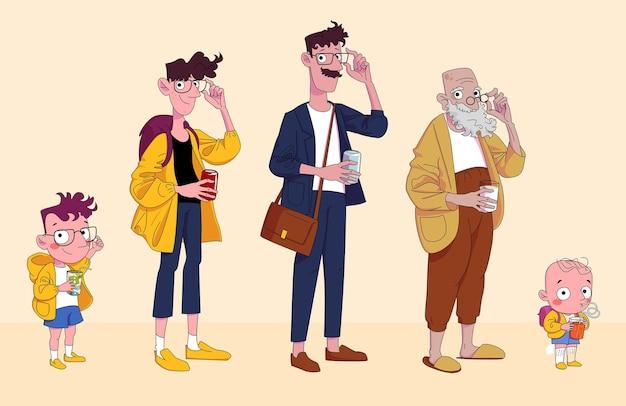 さまざまな年齢の男性の漫画のキャラクター: 子供、少年、10 代、大人、老人。カラーイラスト