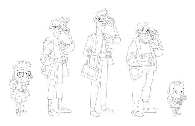 さまざまな年齢の男性の漫画のキャラクター: 子供、少年、10 代、大人、老人。