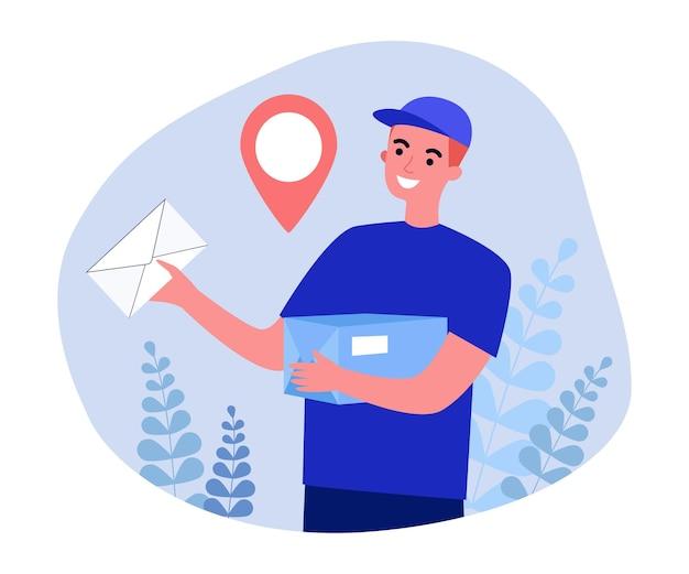 편지와 소포를 배달하는 남성 만화 택배. 제복을 입은 웃고 있는 남자가 메일을 들고 있거나 평면 벡터 삽화를 주문합니다. 배너, 웹 사이트 디자인 또는 방문 웹 페이지에 대한 배달 서비스 개념