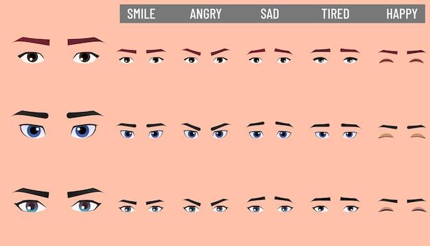 다양 한 감정을 표현 하는 남성 만화 얼굴 세트입니다.