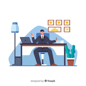 Male cartoon worker sitting at desk