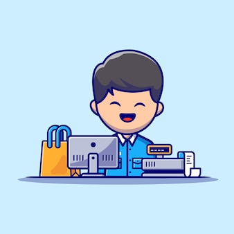 Male cashier cartoon  icon illustration. people profession icon concept