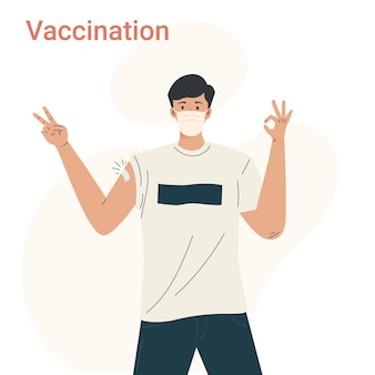 Male character after getting vaccine