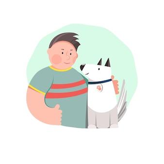 男性キャラクターと犬がお互いを見つめています。友情。フラットベクトルイラスト。ポスター、カード、ウェブなどのテンプレートデザイン。