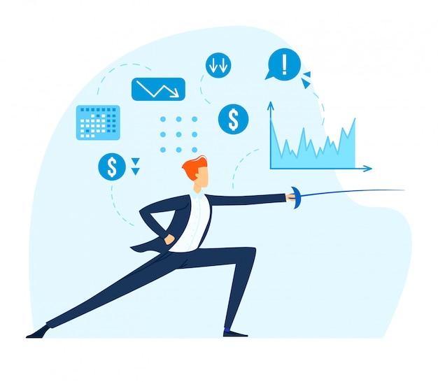 남성 캐릭터 사업가 찌르기 펜싱, 경쟁 사업 회사, 대회 산업 회사 흰색, 평면 그림에 격리.