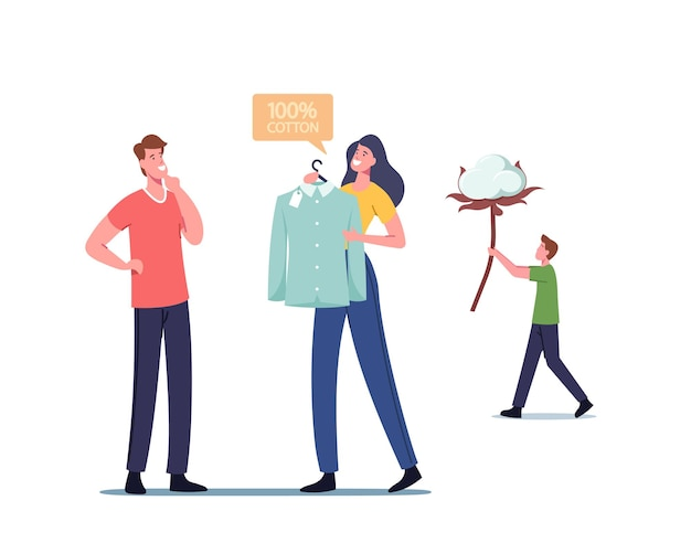 Male character buy shirt made of cotton fiber, ecological natural clothes production, organic material for manufacturing fabric and sewing clothes, man carry flower. cartoon people vector illustration