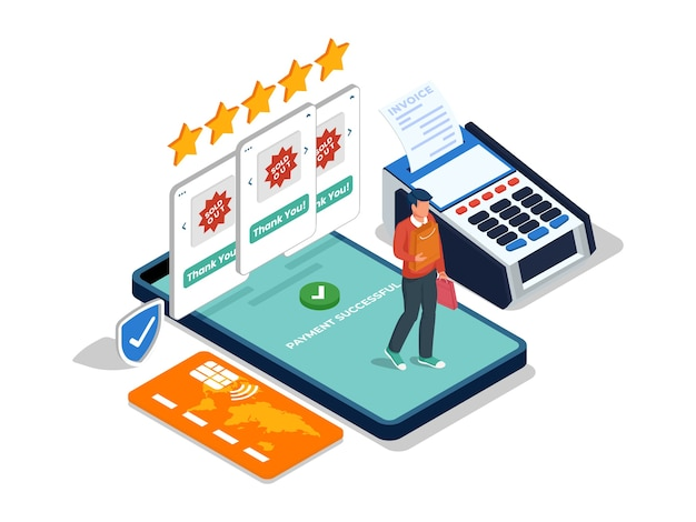 Male character buying product in online shop at mobile phone. isometric e-commerce illustration concept.
