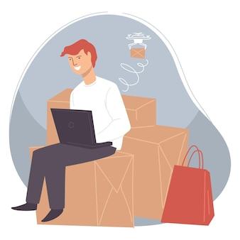 ウェブサイトでオンラインで商品を購入する男性キャラクター。ラップトップを使用して店や店で閲覧する男。 10代の若者が買い物をし、ドローンで商品を配達します。ボックスとビニール袋。フラットスタイルのベクトル