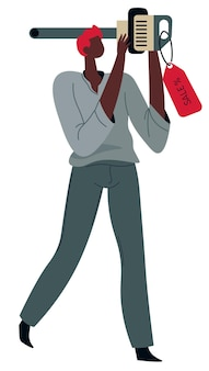 가격표가 있는 드릴링 머신을 들고 있는 남성 캐릭터, 집에서 일하기 위해 도구를 구입하는 도구 가게의 고립된 고객. 플랫 스타일의 전문 벡터를 수리하기 위한 핸디용 장비