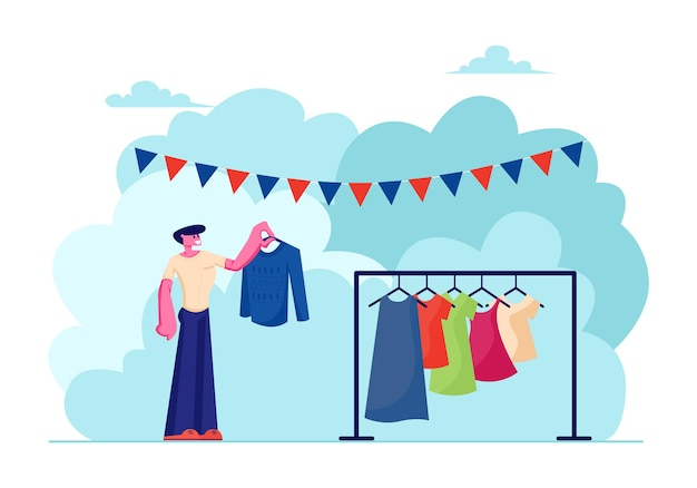 Мужской персонаж выбирает одежду для покупки во время распродажи в гараже