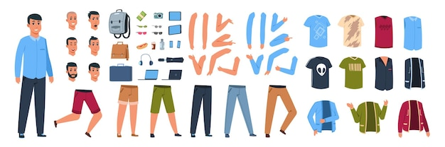 男性文字コンストラクター。ポーズやジェスチャーでさまざまなカジュアルな服や体の部分のセットを持つ漫画の男。ベクトルアニメーション