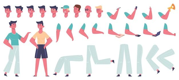 男性キャラクターコンストラクター。男体ジェスチャーポーズ、服や髪型、別の足、手、顔の感情のイラストアイコンセット。男の顔とジェスチャー、感情とポーズ、腕と脚