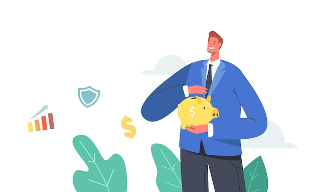 Male character covering gold piggy bank with hand. man collect capital or pension. saving money in thrift-box, open bank deposit. finance budget protection concept. cartoon people vector illustration