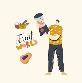 ブレンダーを使ってスムージーを作るための男性キャラクターカットバナナ、ココナッツ、グァバの実