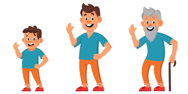 Male character of different ages. boy, man and old man in cartoon style.