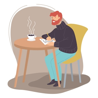Male character drawing sketches in sketchbook sitting in cafe or restaurant drinking cup of coffee or tea. creative hobby of man, artist searching for inspiration. painting workshop. vector in flat