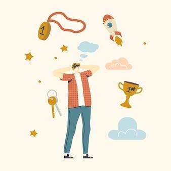 Мужской персонаж мечтает об успехе. человек, думающий о богатстве, полет ракеты в небе, золотой кубок, связка ключей, медаль победителя и звезды