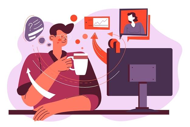커피나 차를 마시고 텔레비전에서 뉴스를 보는 남성 캐릭터. 남자는 컴퓨터나 tv 옆에 앉아 화면을 보고 있습니다. 사회화를 위한 현대 미디어 및 기술. 평면 스타일의 벡터
