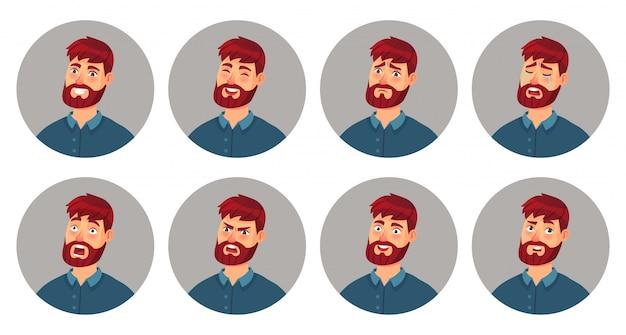 Эмоции лица мужского персонажа. счастливое улыбающееся лицо человека, сердитое выражение и различные эмоции сталкиваются с карикатурным векторным набором иллюстраций