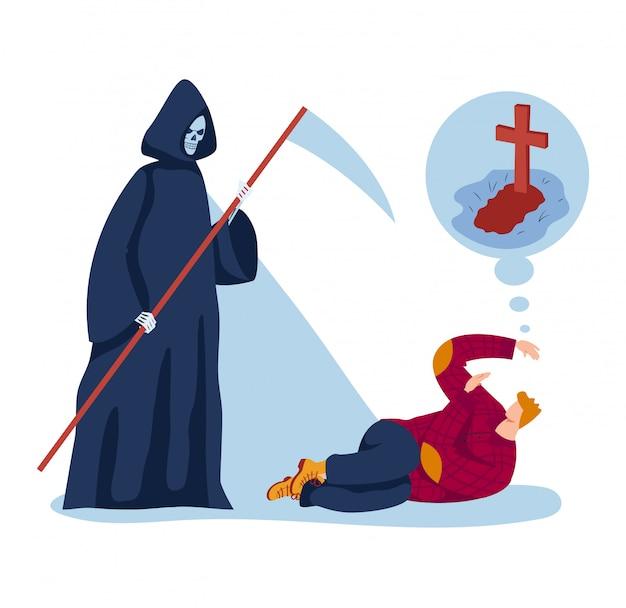 남성 캐릭터 죽음의 두려움, 사람이 누워 바닥 무서운 죽음의 골격
