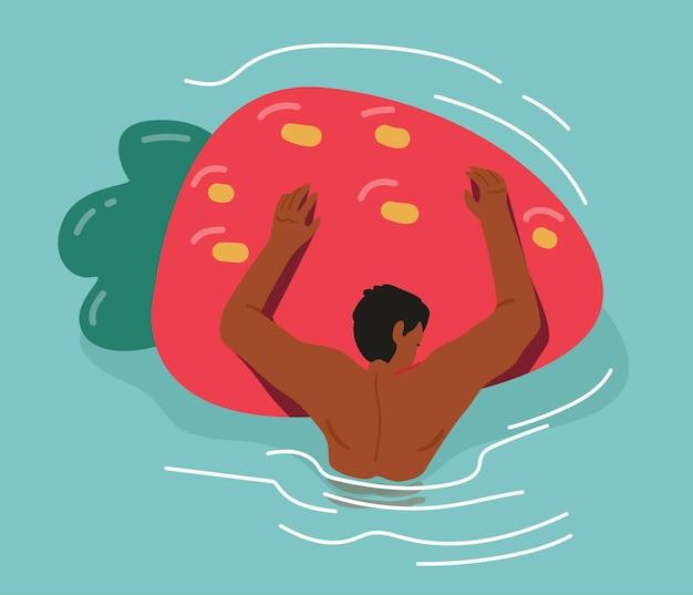 ストロベリーインフレータブルエアマットレスを保持しているプールに浮かぶ男性キャラクター。夏休み、リゾートやホテルのリラックス、海や海を楽しむ男性キャラクター。漫画のベクトル図