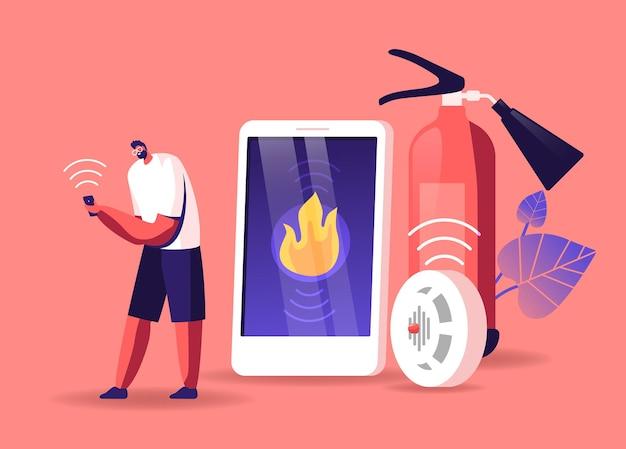 男性キャラクターは、電子デバイス スマートフォンでスマート コントロール システムから通知を受け取ります