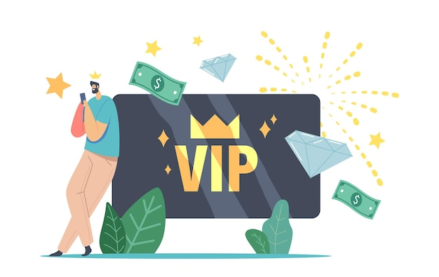 Male character in gold crown use gold plastic bank card for getting privileged services. rich man membership in luxury club for very important persons, celebrity lifestyle. cartoon vector illustration