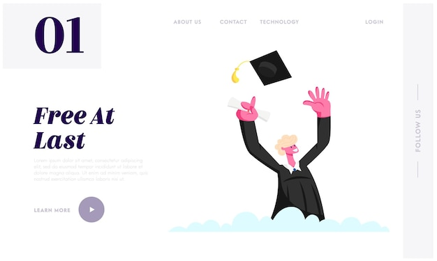 Male character in graduation gown throw academic cap, cheering up to get diploma certificate and finish university education website landing page, web page.