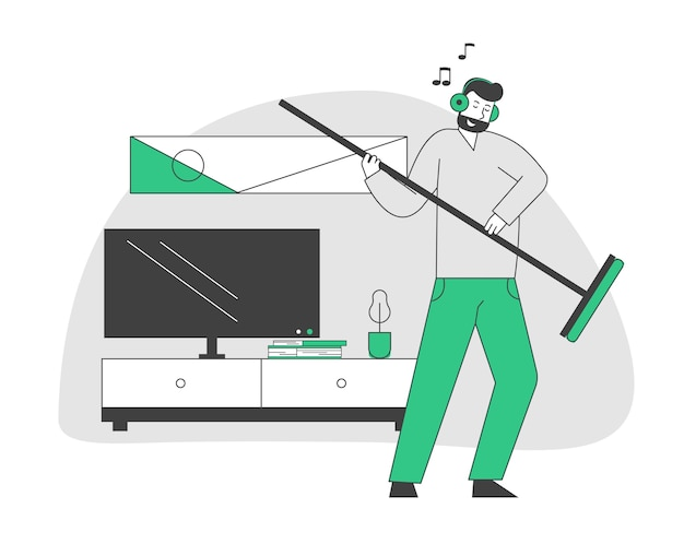 Male character in headset listening music and dancing with broom as it is electric guitar