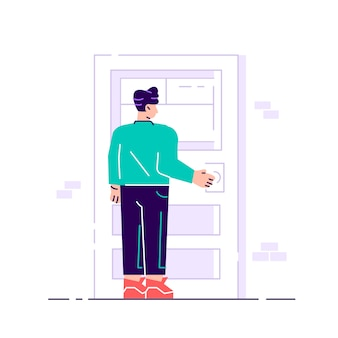 Male character holding a door knob. entering the building