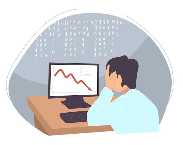 감소하는 차트와 함께 컴퓨터를 보고 손에 머리를 잡고 남성 캐릭터. 전염병 동안 비즈니스 또는 금융 위기. 코로나바이러스 폐쇄로 인해 문제와 우울증이 발생했습니다. 평면 스타일의 벡터