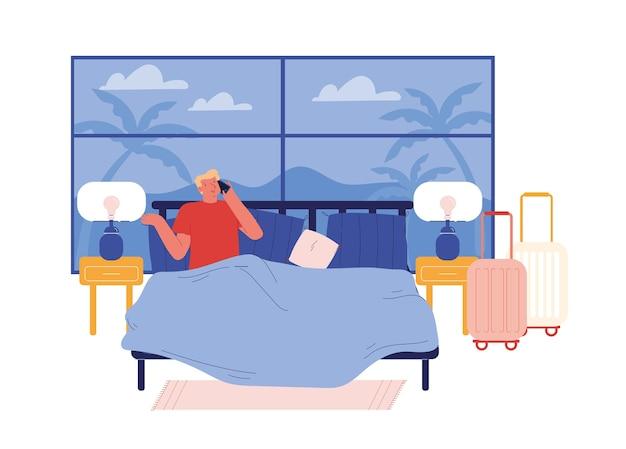 Жилец отеля мужского пола, лежащий в постели с экзотическим видом из окна. звонок на прием, заказ завтрака в костюме. человек туристических летних каникул. концепция заказа обслуживания номеров. мультфильм