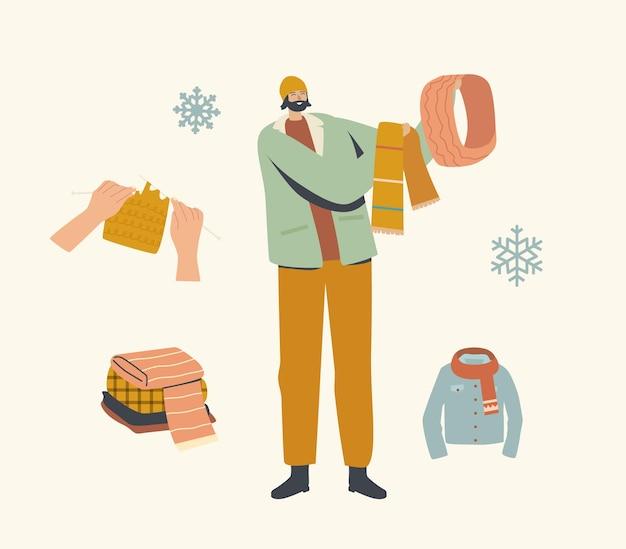 유행 힙 스터 드레싱의 남성 캐릭터는 야외 산책을 위해 니트 스카프와 후드 중에서 선택