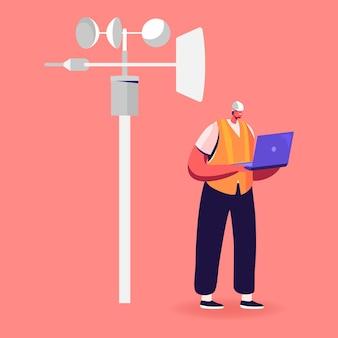 Мужской персонаж в рабочем халате и каске держит ноутбук, изучающий метеорологические индикаторы на метеостанции.