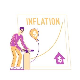 Мужской персонаж надувает воздушный шар со знаком доллара с помощью насоса