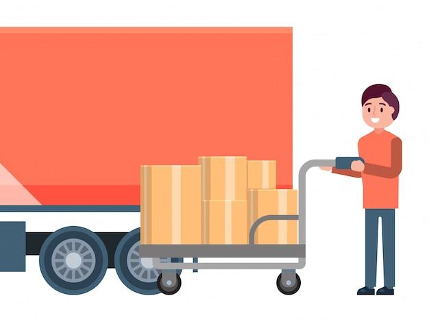 남성 캐릭터 로더 보류 카트, 빠른 배달 서비스 트럭 물류 개념 흰색, 그림에 고립.