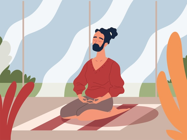 Male character meditating