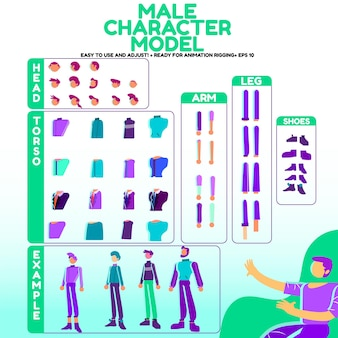Male character models in vector ready for rigging animation  cartoon style peoples with various ty